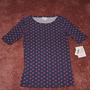 LuLaRoe Gigi, navy blue with red swirls NWT
